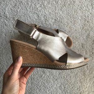 Clarks Gold Cork Wedge Sandals 9